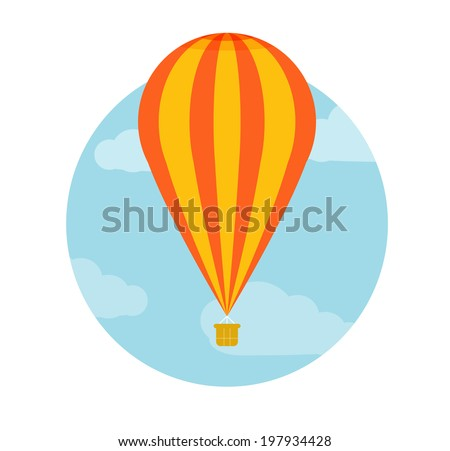 Hot air balloon flying. Icons of traveling, planning a summer vacation, tourism and journey objects. Raster version
