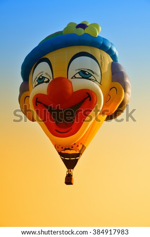Hot air balloon in flight in the sky in a nice day