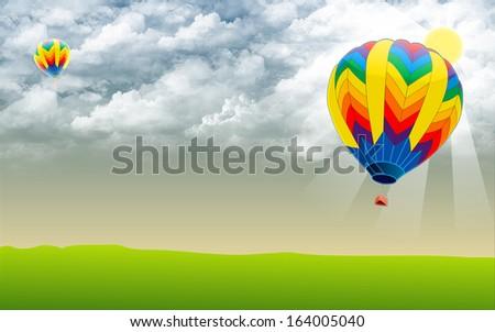 Hot air balloon in sky  - stock photo