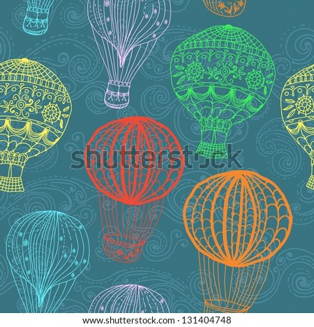hot Air Balloon in sky, hand drawn seamless Background for Design