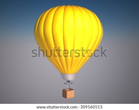 Hot air balloon in the clear sky on the sunny day