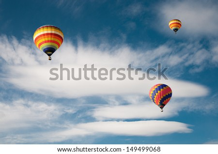 Hot air balloon in the cloud - stock photo