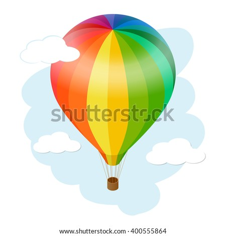 Hot air balloon in the sky with clouds. Flat 3d isometric illustration hot air balloon.