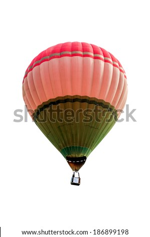 Hot air balloon isolated on white background. Soft focus
