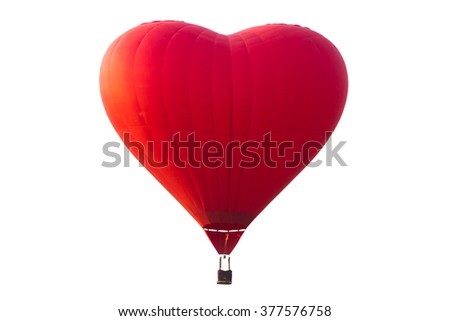 hot air balloon isolated on white with clipping path - stock photo