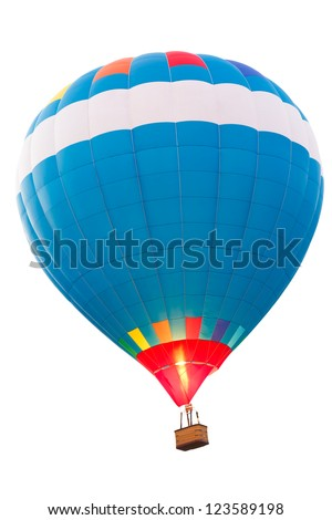 Hot air balloon, Isolated over white background - stock photo