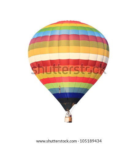 hot air balloon isolated whte. - stock photo