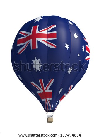 hot air balloon on a white background - stock photo