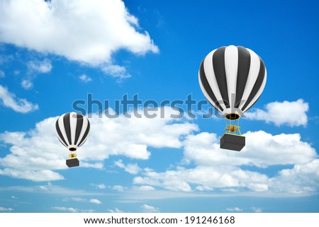 Hot air balloon on sky background