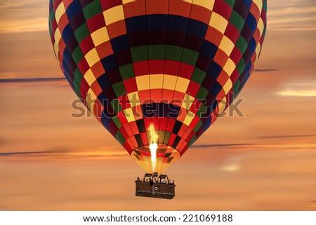 Hot air balloon, sunset - stock photo