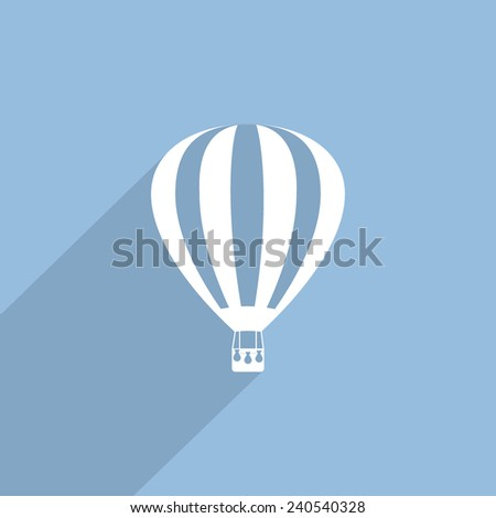 hot air balloon web flat icon illustration.