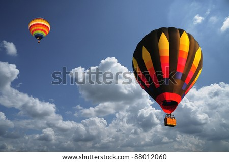 hot air balloon with beautiful blue sky and nice cloud in Thailand.