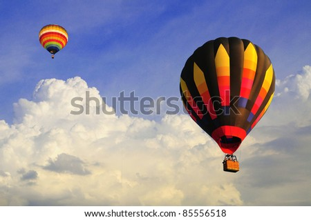 hot air balloon with blue sky and nice cloud