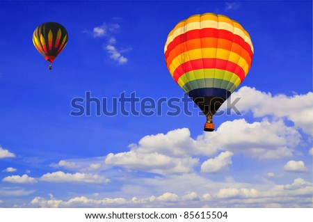 Hot air Balloon with blue sky and nice clouds