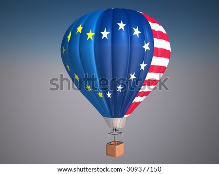 Hot air balloon with Eu and USA flag with stars making heart shape. Friendship and partnership between Eu and USA. - stock photo