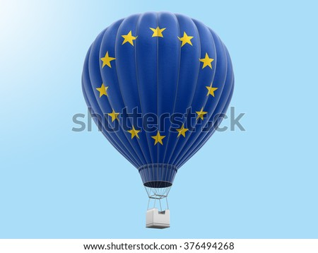Hot Air Balloon with European union Flag. Image with clipping path - stock photo