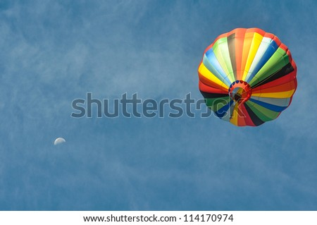 Hot Air Balloon with the Moon - stock photo