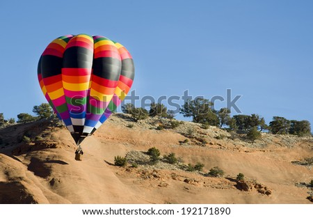 Hot air ballooning in New Mexico. - stock photo