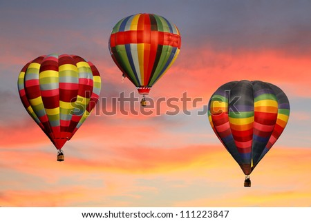 Hot Air Balloons Ascending at Sunrise