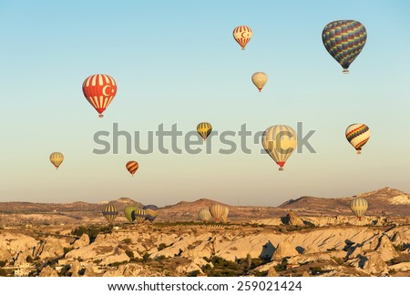 Carved Wooden Landscape Hot Air Balloons Stock Vector