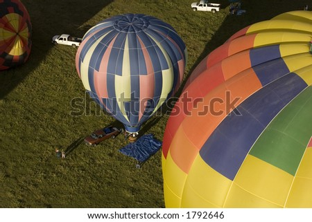 Hot Air Balloons from above - stock photo