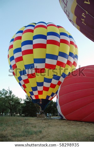 Hot Air Balloons in Napa Valley - stock photo