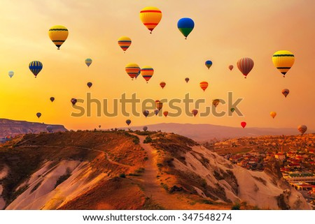 Hot air Balloons Mountain Turkey