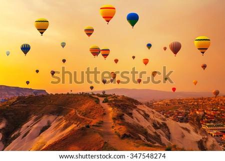 Hot air Balloons Mountain Turkey - stock photo