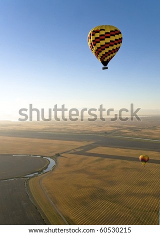 Hot Air Balloons. Napa Valley, California. - stock photo