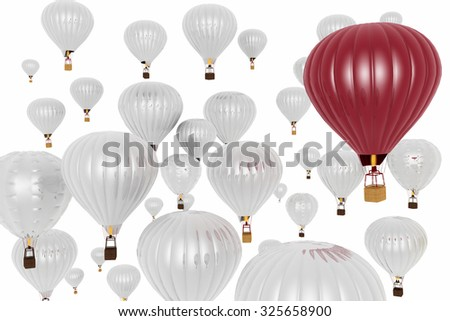 Hot air balloons on a blue sky background - stock photo
