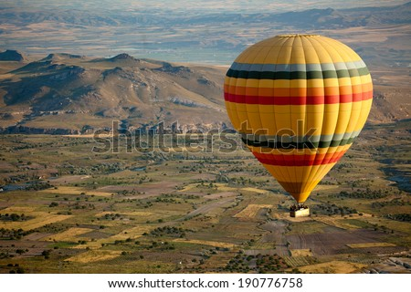 Hot Air Balloons Over Cappadocia, Turkey - stock photo