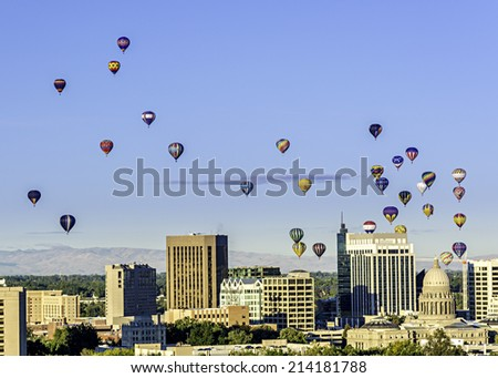 Hot Air Balloons over the city of Boise Idaho - stock photo