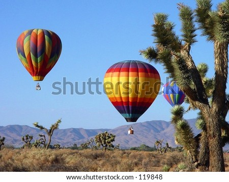 Hot Air Balloons over the Desert - stock photo