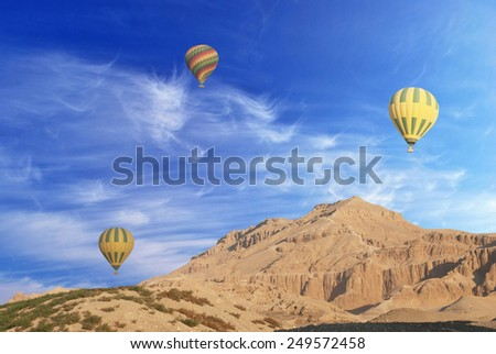 Hot Air Balloons Over The Valley of The Kings, Egypt  - stock photo