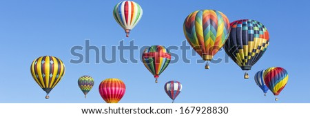 Hot air balloons panorama - stock photo