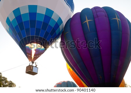 Hot Air Balloons racing in the sky - stock photo