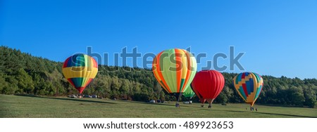 Hot air balloons ready to take off on the Balloon festival.