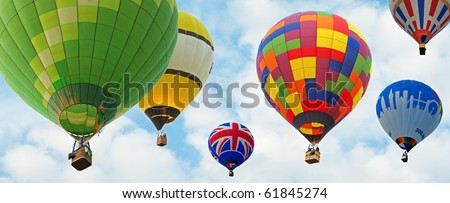 hot air baloons with blue sky background - stock photo