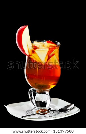 Hot  alcoholic cocktail on the white  background - stock photo