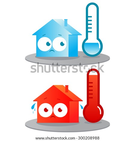 Hot and cold house. A very hot and cold house. Badly insulated buildings in extreme temperatures. Vector version also available in my gallery. - stock photo