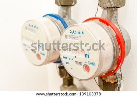Hot And Cold Water Meters - stock photo