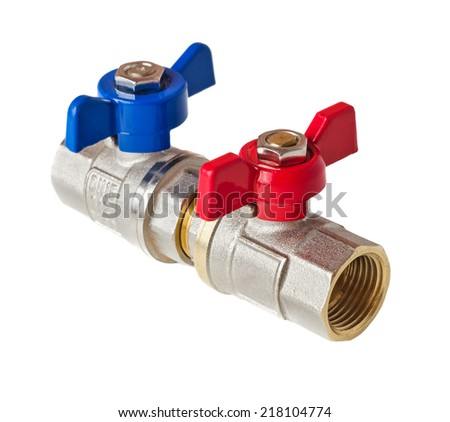 Hot and cold water valves isolated on white background. File contains a clipping path. - stock photo