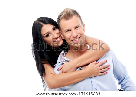 Hot and sexy couple having a photo session in studio