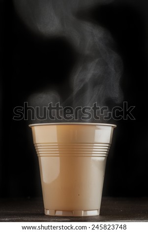 Hot and smoky coffee cup - stock photo