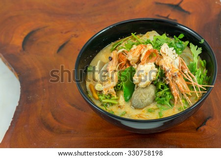 Hot and sour soup and shrimp in condensed water, Thai traditional food