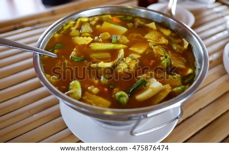 Hot and sour with fish and vegetables, delicious thai traditional food.