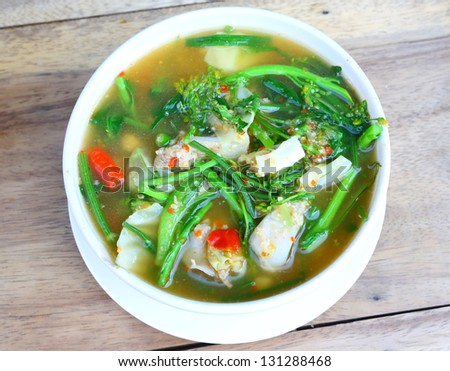 Hot and spicy , A savoury thick soup made from spices and vegetables - stock photo