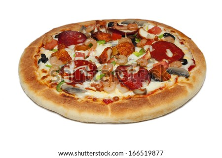 hot and spicy Italian tikka chicken pizza on a plate. Image isolated on white studio background.