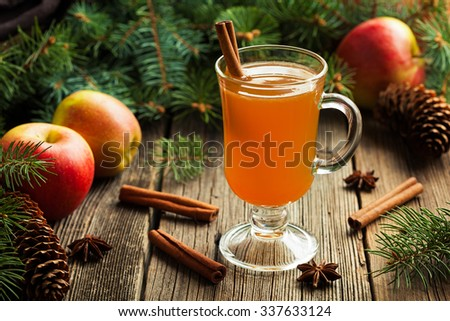 Hot apple cider traditional winter season drink with cinnamon and anise. Homemade healthy organic warm spice beverage. Christmas or thanksgiving holiday decoration on vintage wooden background. - stock photo