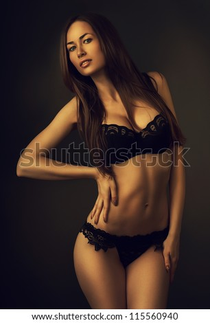 hot attractive girl in dark
